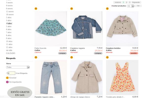 Percentil: ropa casi nueva para niños